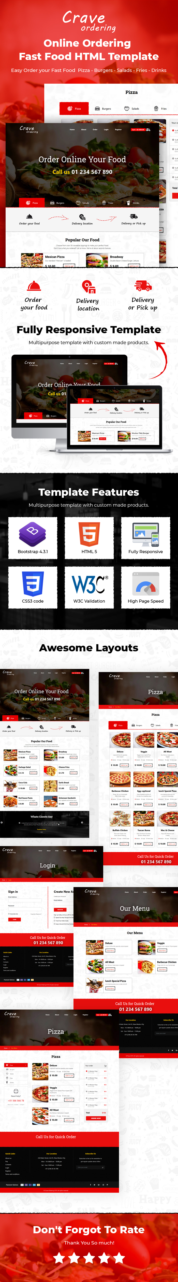 Crave Ordering – Order Online Fast Food & Pizza Template - 1